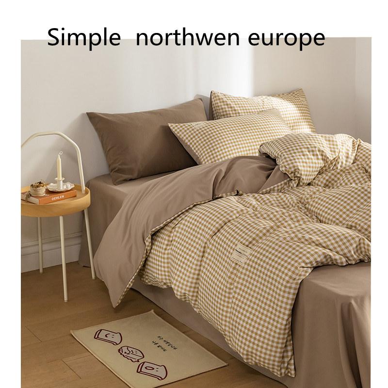 日式简约水洗棉床上四件套ins风学生宿舍被套床单人三件套床笠4件