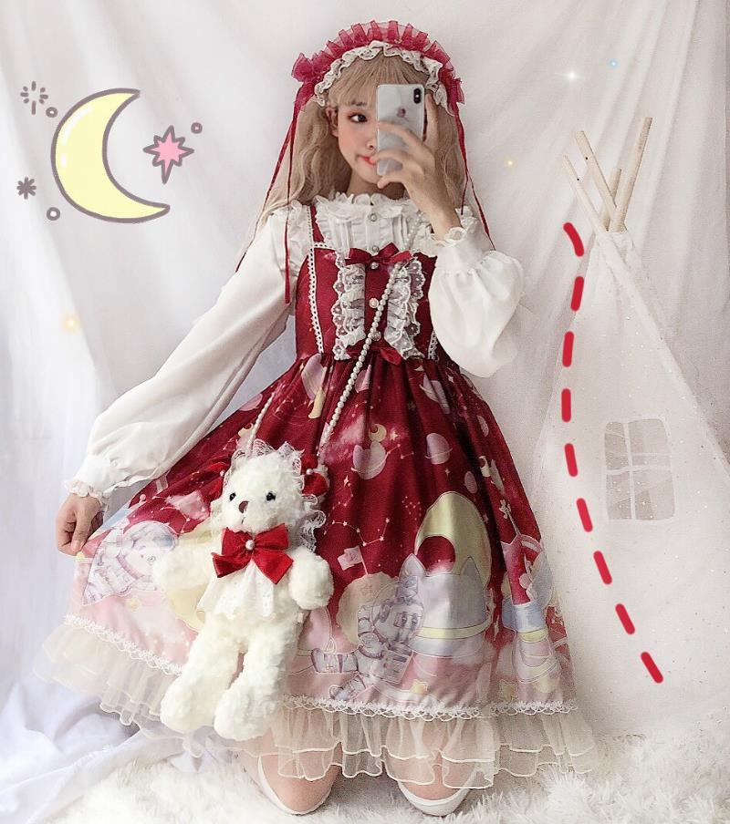 Original design ~ spring and summer womens wear Japanese soft girl observer Lolita strap dress gradient Lolita skirt