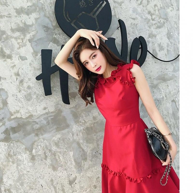 红色雪纺连衣裙2020流行裙子夏小红裙气质收腰无袖法式高尔夫