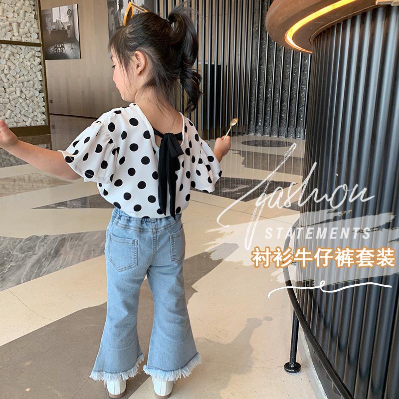 女童套装夏季薄款宝宝洋气时髦短袖上衣韩版衬衫儿童牛仔喇叭裤潮
