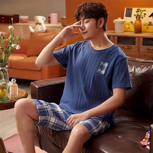 Pajamas mens summer short sleeve summer mens youth vest shorts mens cotton home suit oversize