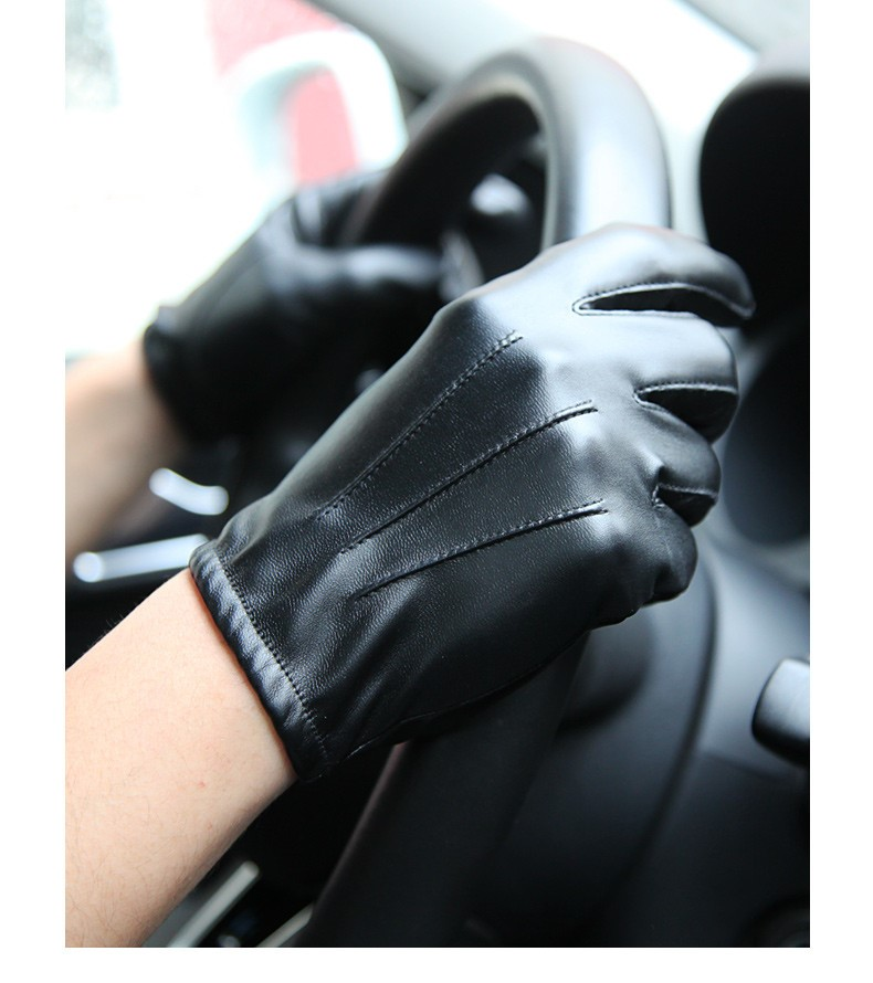 Warmenpu leather gloves mens thin driving and riding motorcycle gloves anti slip full touch screen pm014