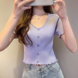 法式短款上衣女夏短袖T恤紫色冰丝高腰露脐薄款修身木耳边针织衫