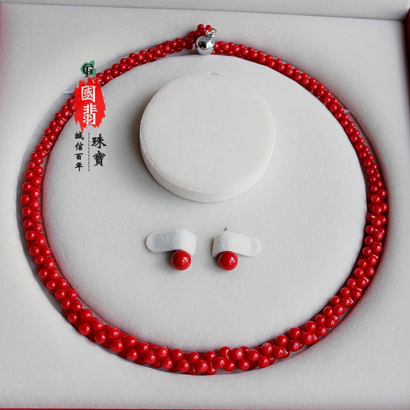 High grade coral neck Necklace Bracelet Ring Earring Set for mothers Day