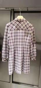 2021年春季新品女装新特收腰格纹衬衫式连衣裙112J4740