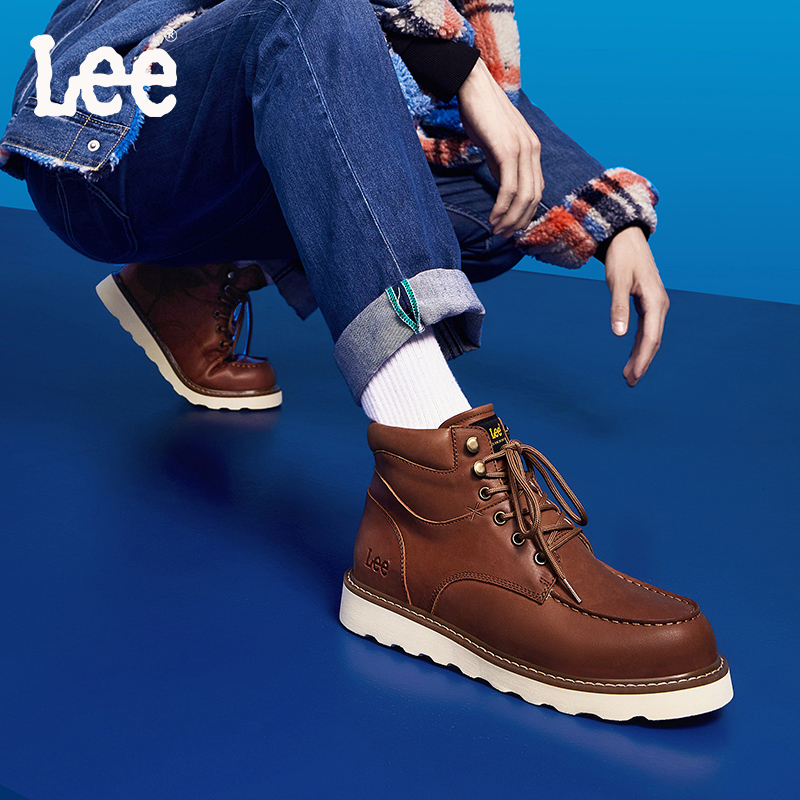 Lee Martin boots mens high top British autumn and winter new mens shoes tooling boots fashion mens boots leather boots