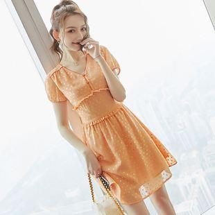 夏季女装2021新款可甜可盐波点印花气质甜美收腰显瘦雪纺连衣裙