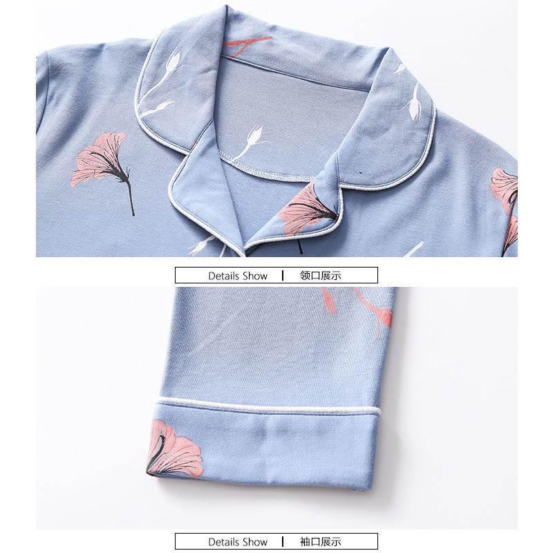 )100%优质棉料中年妈妈睡衣春秋季妇女士长秋中冬袖老年人家居服
