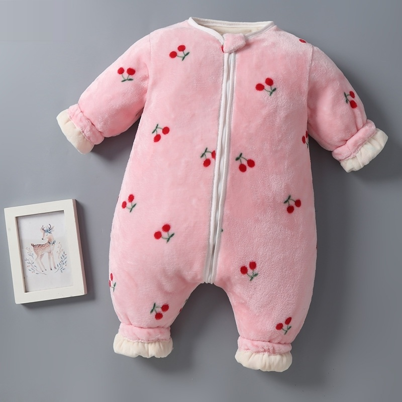 Flannel winter pajamas childrens ha thickened autumn sleeping bag coral baby home mens and womens play one