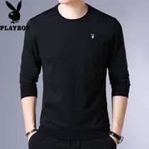 Playboy mens long-sleeved T-shirt with velvet thickened clothes young and middle-aged fashion clothing pure color Bottom shirt