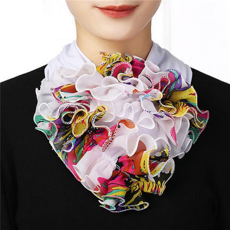 围脖拼色女春夏新款领花纯色脖套花时尚韩版网红同款百变假领子