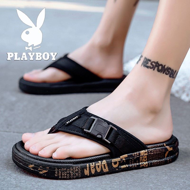 Playboy slippers mens summer wear cool slippers home sports thick bottomed outdoor trend deodorant flip flop