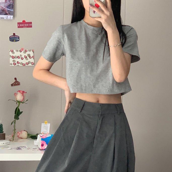 2021夏季纯棉短袖T恤女学生韩版修身高腰显瘦露肚脐ins短款上衣潮