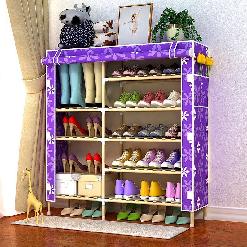 Shoe rack canvas cover shoe cabinet cover simple multi-layer 6 double row cover fabric dustproof.