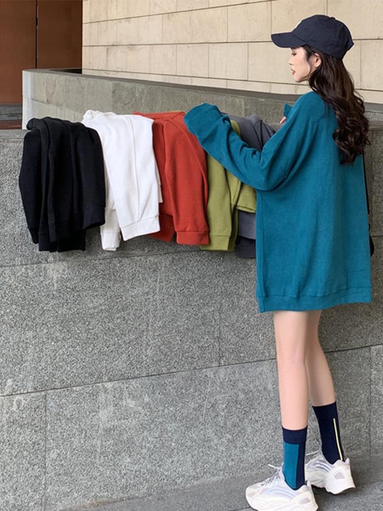 孔雀蓝超火卫衣女春秋薄款2021新款宽松韩版爆款长袖上衣服潮ins