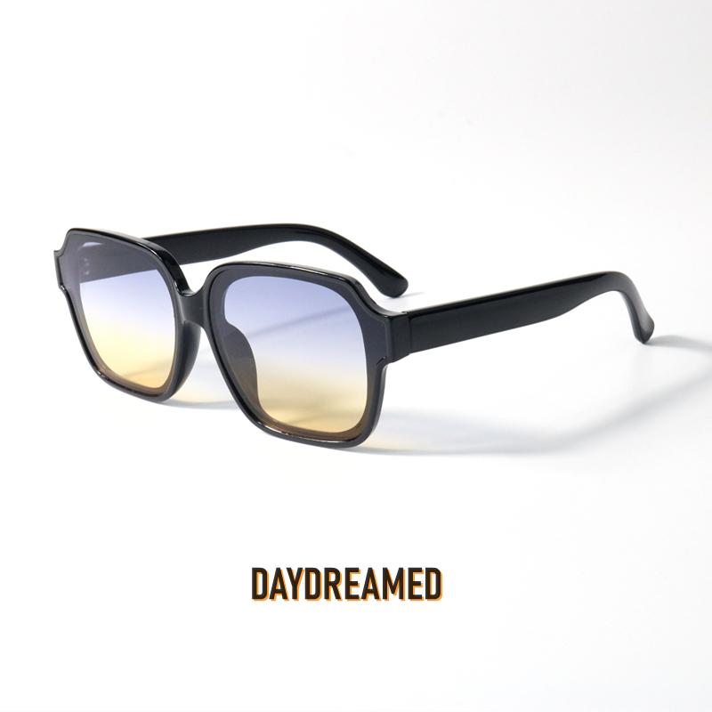 颜色镜片很好看的黑框渐变色太阳眼镜uv400方形修饰脸型情侣墨镜