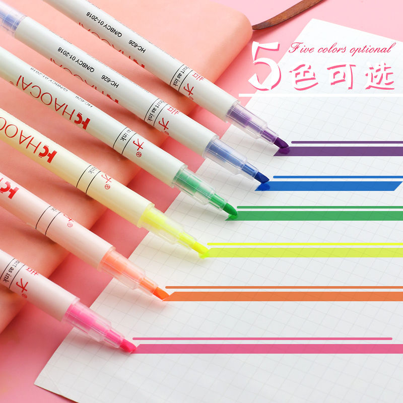 中國代購|中國批發-ibuy99|彩色笔|双头6色双色新荧光笔标记笔小学生彩色粗划重点糖果色12色记号笔