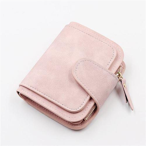 跨境新款女士钱包短n款韩版三折零钱包时尚拉链搭扣卡包双色面料