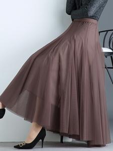 高端透气网纱半身裙女夏长款2021气质显瘦大摆长裙子垂感薄款纱裙
