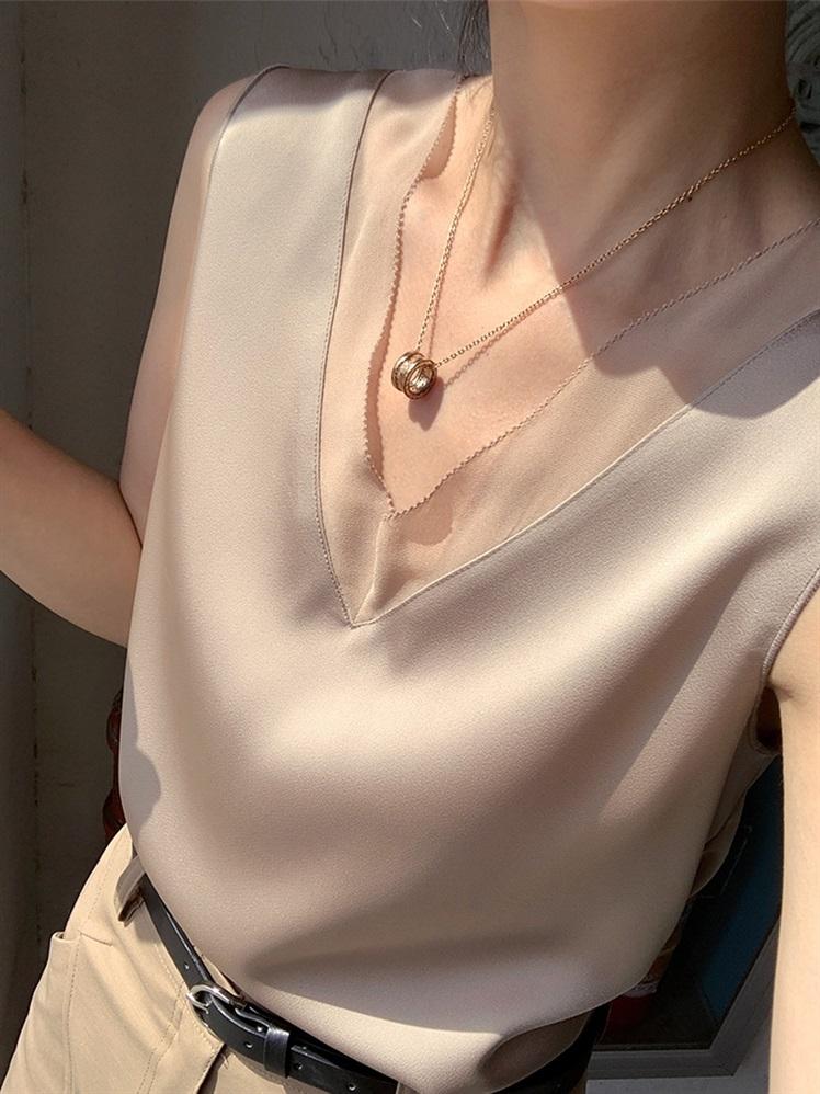 醋酸缎面吊带背心女夏搭配西装的内搭打底外穿法式宽松性感上衣潮