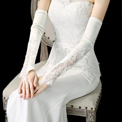 套短款手蕾丝手套白色长手套结婚手套婚纱红色婚礼款面手纱缎新娘