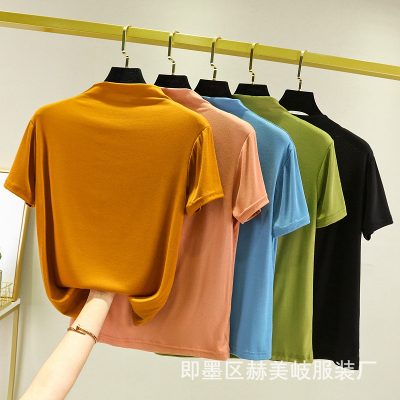 Spring and summer new modal short sleeve T-shirt womens half high collar solid color base shirt Korean white with T-shirt