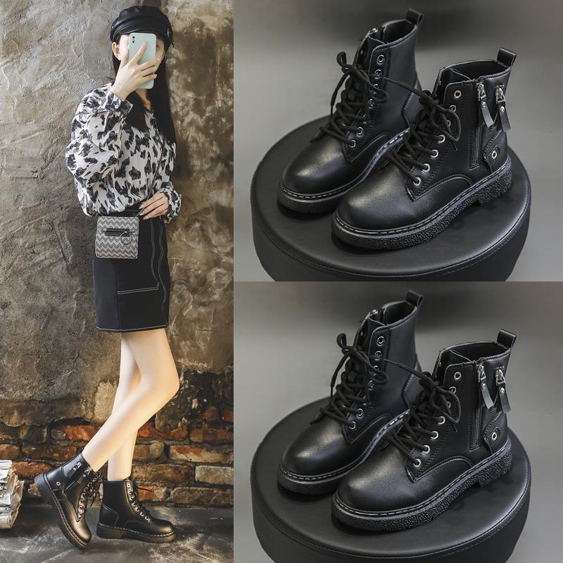 马丁靴女机车靴2021新款春秋单靴女士短靴时尚百搭高帮皮鞋厚底潮
