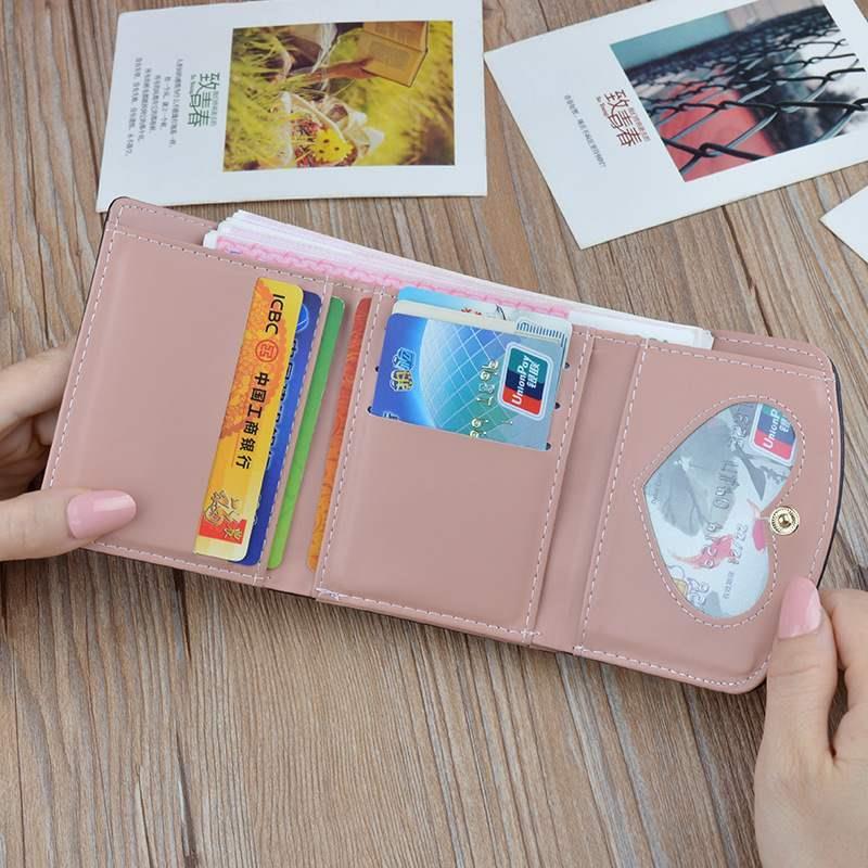 包学生韩新款钱夹女士三短款软皮夹折叠版小钱包零钱小兔时尚20。