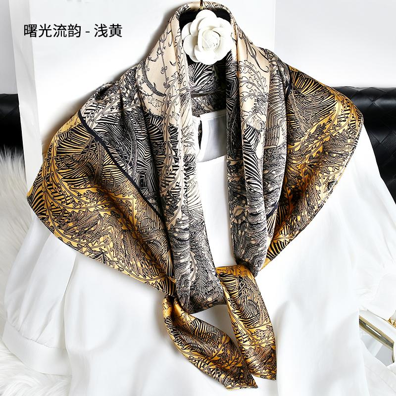 高級なシルクの大きいスカーフの四角形のスカーフの女性の春の服はKシャツに合わせて薄いハイエンドのマフラーの秋に着ることができます。