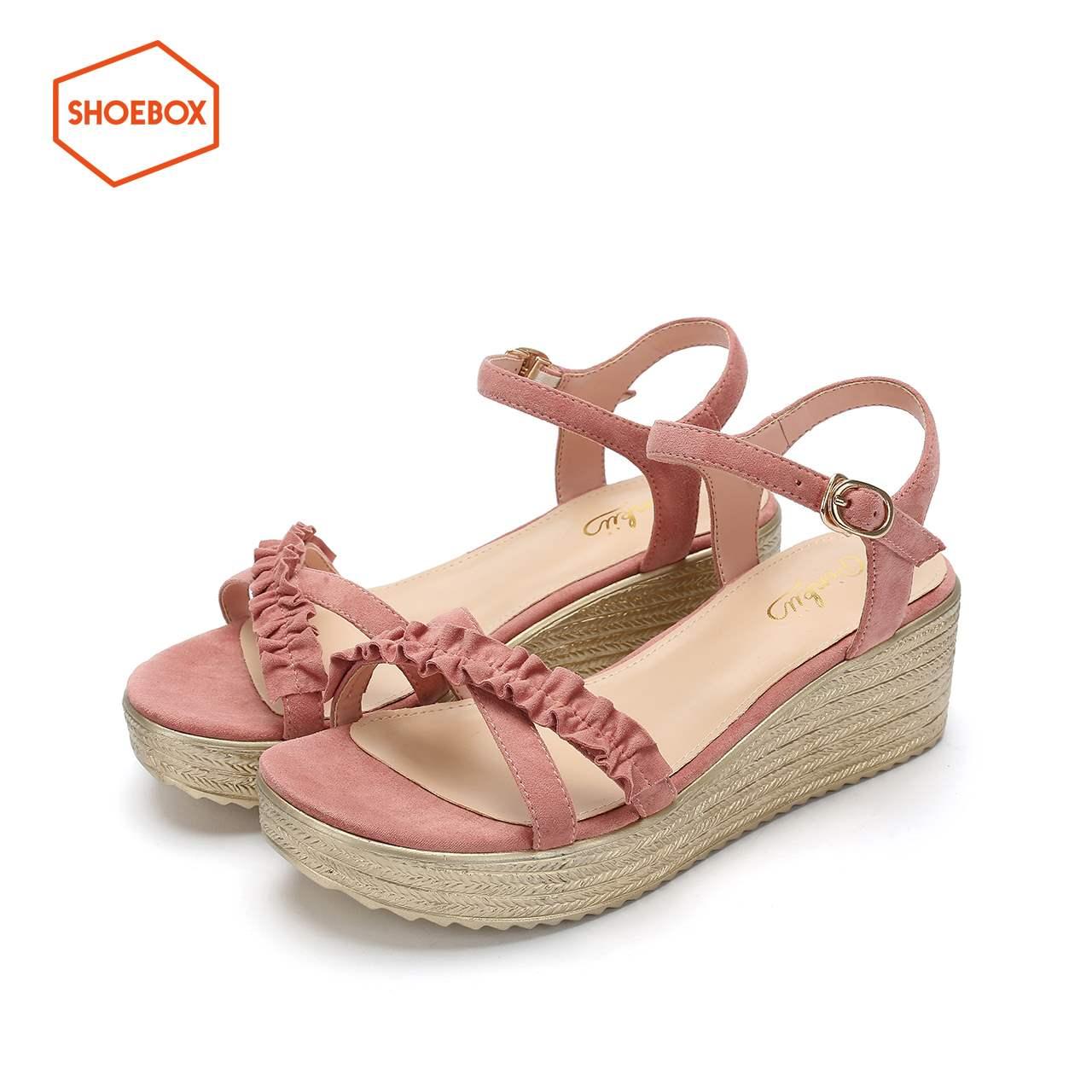 个性凉鞋1119303705时尚花边交叉带鞋面可调节踝带女