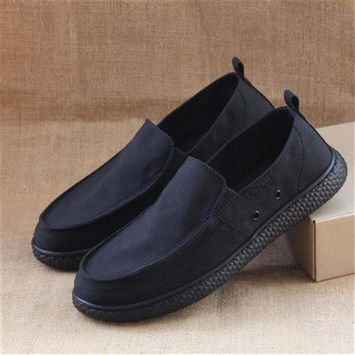 Old Beijing cloth shoes mens casual shoes spring and summer thin canvas shoes breathable mens lazy u shoes with black cloth on one foot