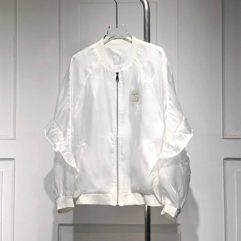 Fashionable short loose cover womens spring and summer new glossy silky hundred ruffles with jacket, age reducing and sunscreen top