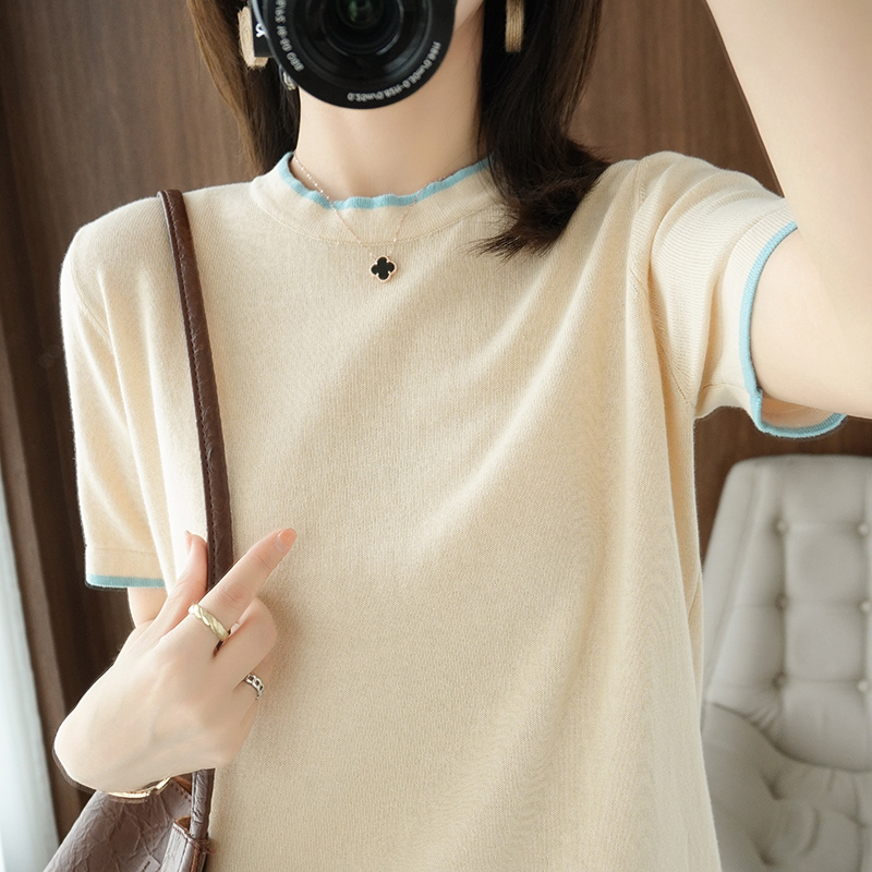 Spring new pure cotton knitting half sleeve bottomed T-shirt half high collar Pullover loose middle sleeve top summer thin