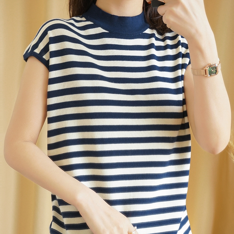 Spring and summer half high collar T-shirt pure cotton color stripe T-shirt loose sleeveless vest thin combed cotton short sleeve