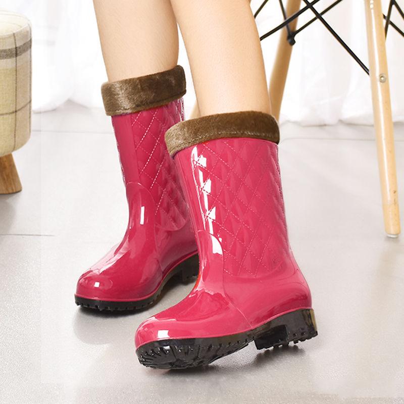 中國代購|中國批發-ibuy99|雨鞋|【可拆卸绒套】加绒雨鞋女中筒保暖水鞋防滑耐磨水靴胶鞋套鞋雨靴