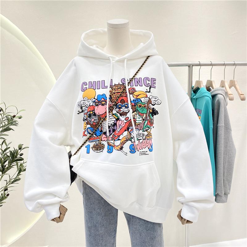 Hooded sweater womens coat loose Korean autumn winter 2021 new net red cartoon Pullover Hoodie Top