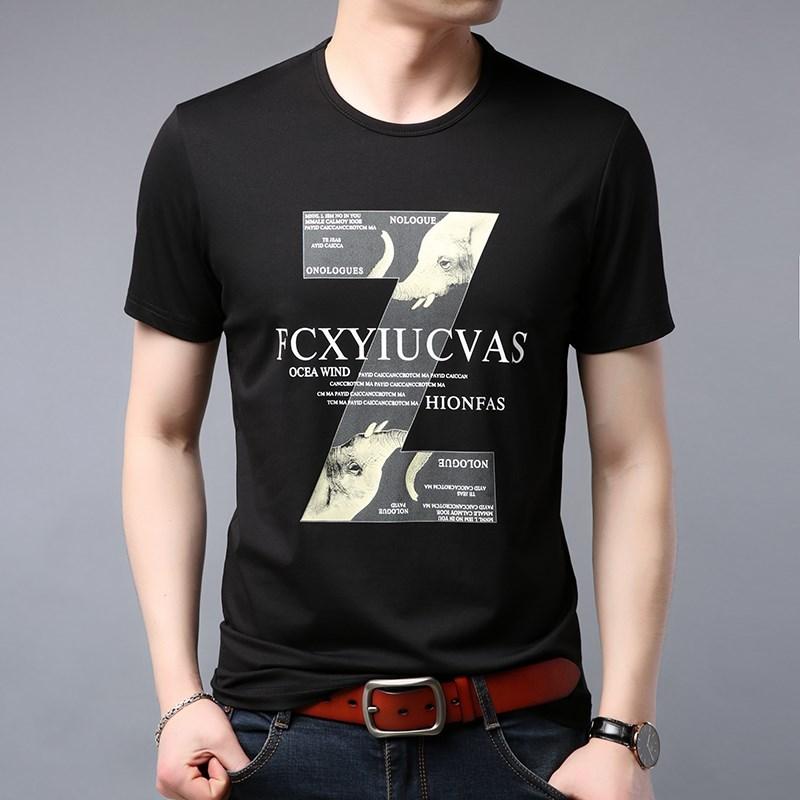 花纹带字T恤潮男成熟男装帅气潮流简单百搭男士短袖大方无痕短衫