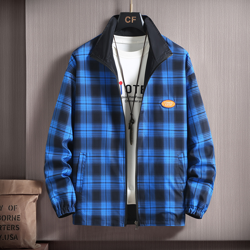 Double sided coat mens spring and autumn fashion brand Plaid mens jacket stand collar casual sports wear clothes outside