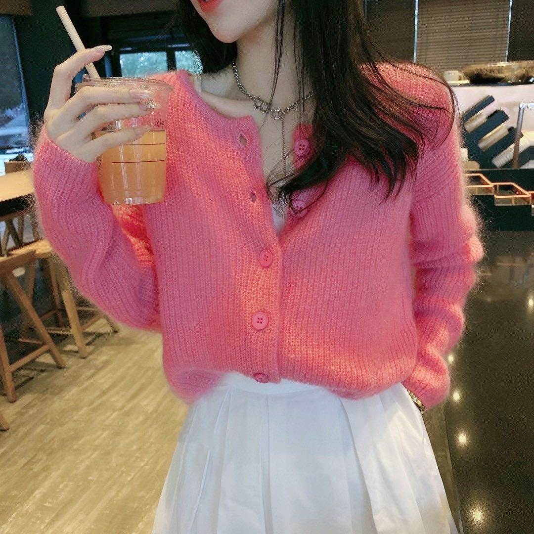 High grade Mohair cashmere blended crew neck short single breasted sweater cardigan coat women 2021 luxury