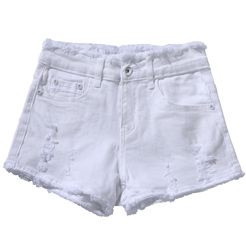 White denim short womens pants summer 2021 new medium and low waist broken version of rough edged Korean hole o thin a-word hot pants in