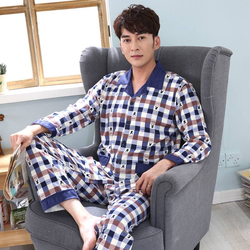 &Cotton pajamas mens spring and autumn long cardigan mens autumn and winter middle-aged and elderly dad large sleeve home clothes mens set