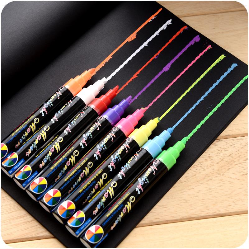 中國代購|中國批發-ibuy99|彩色笔|8色一套 进口黑板专用斜头圆头彩色记号笔玻璃荧光板水性笔荧光笔