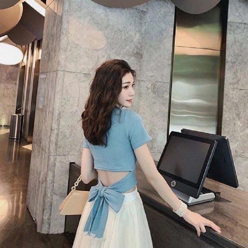 两件套装裙女士夏季韩版气质性感露腰百搭纯棉T恤+时尚雪纺半身裙