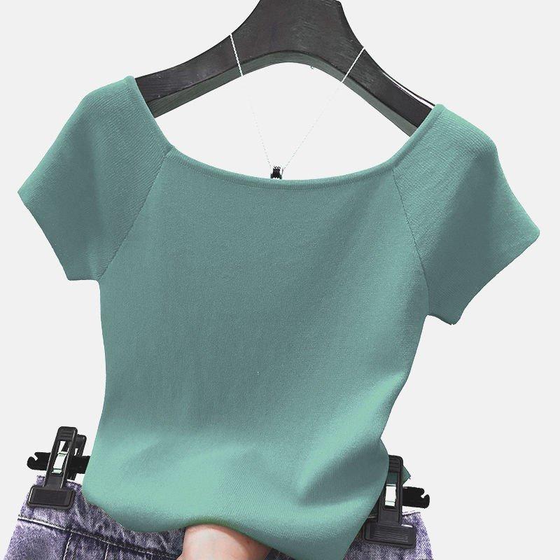 /2019新款一字肩短袖t恤女修身冰丝针织打夏底衫纯色半袖露肩上衣