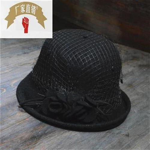 New style womens Retro gauze flower wool tweed hat with curly brim and folding brim