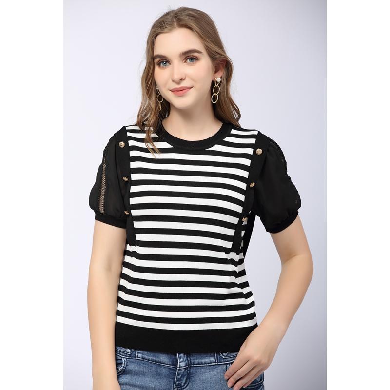 2021年夏季通勤圆领T恤女黑白条纹冰丝短袖雪纺拼接宽松针织上衣