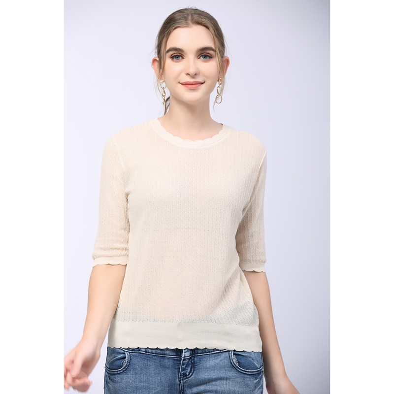 Summer 2021 short sleeve round neck T-shirt womens middle sleeve Tencel solid color loose linen twist knit breathable top thin