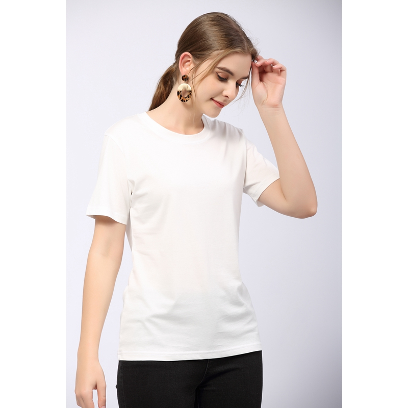 Summer 2021 T-shirt womens round neck 100% high count cotton short sleeve bottomed shirt commuter solid loose top thin