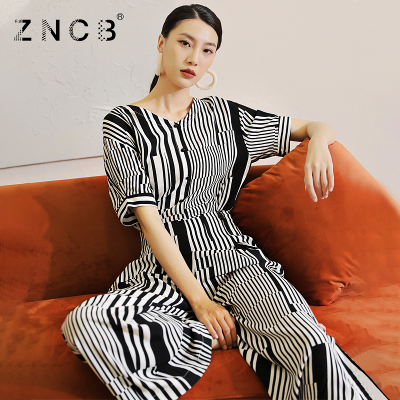 Zncb2021 summer new black and white stripe stretch knitted slim Jumpsuit V-lead tooling fashion wide leg