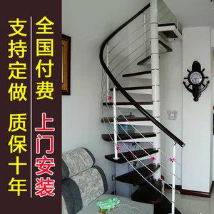 旋转室内室外钢木转折雕花现代直梯